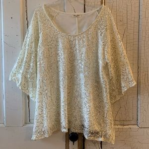 Brittany Black lace top with sequins Size 1X